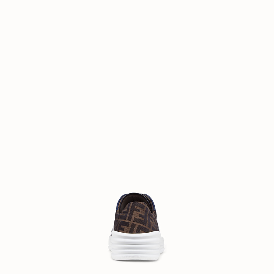 FENDI SNEAKERS - Blue leather low-tops - view 3 detail