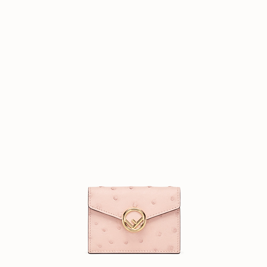 FENDI MICRO TRIFOLD - Pink ostrich leather wallet - view 1 detail