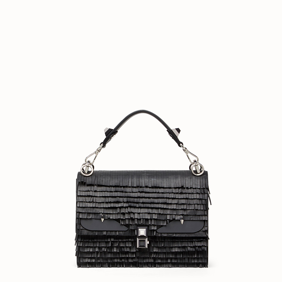 FENDI KAN I - Black leather handbag with fringe - view 1 detail