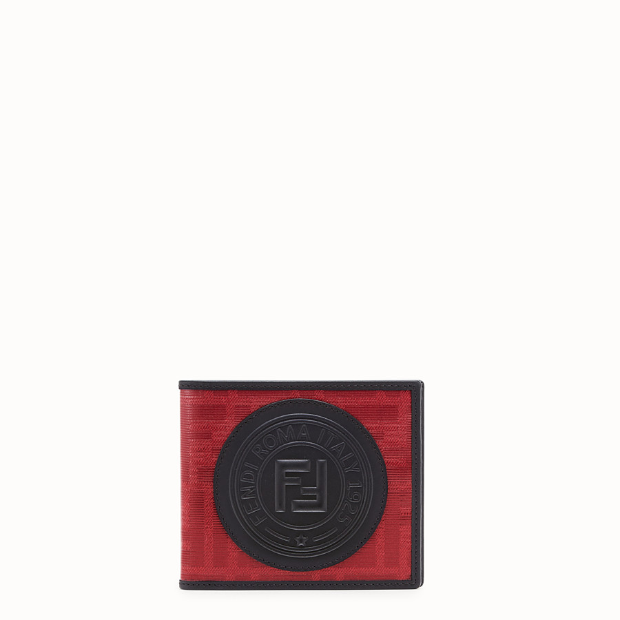 FENDI WALLET - Red fabric bi-fold wallet - view 1 detail