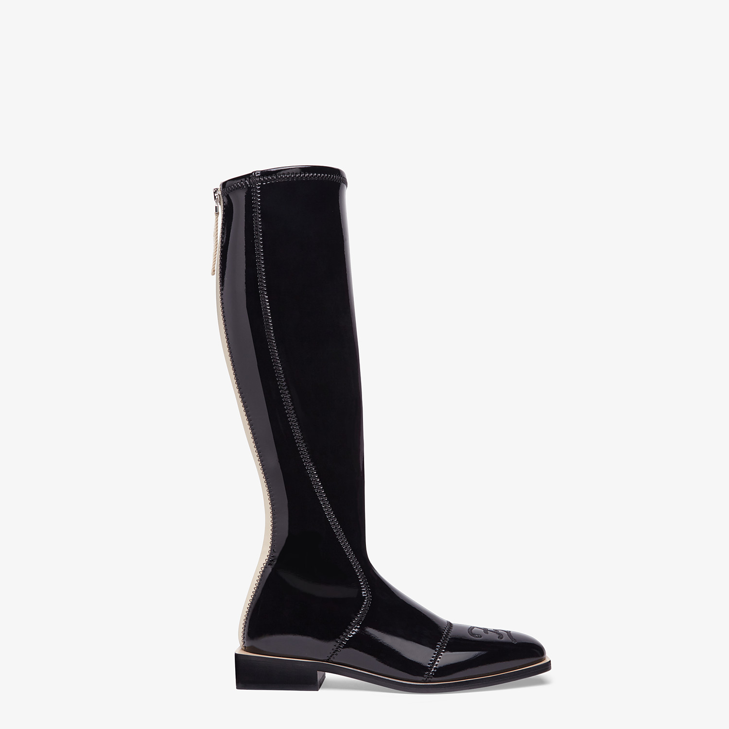FENDI BOOTS - Glossy black neoprene boots - view 1 detail