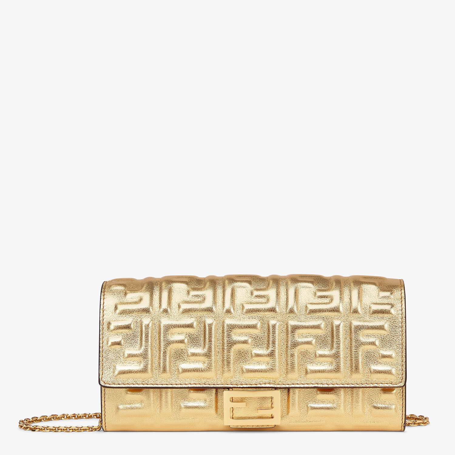 FENDI CONTINENTAL WITH CHAIN - Golden leather wallet - view 1 detail