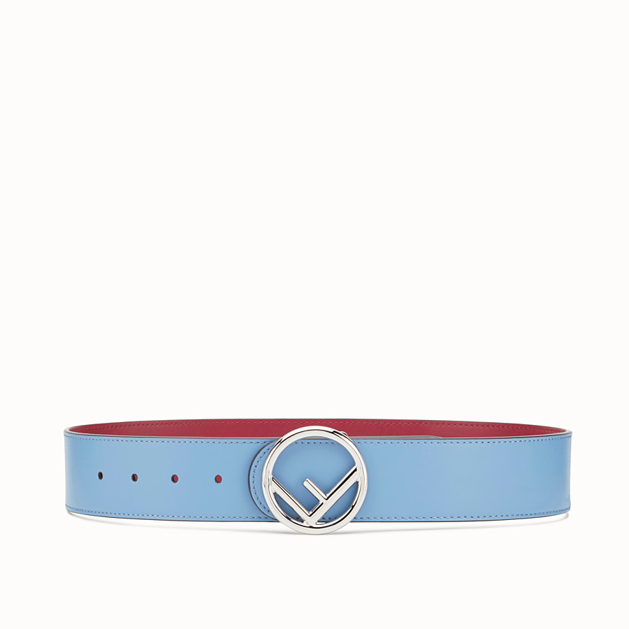FENDI BELT - Light blue leather belt - view 1 detail