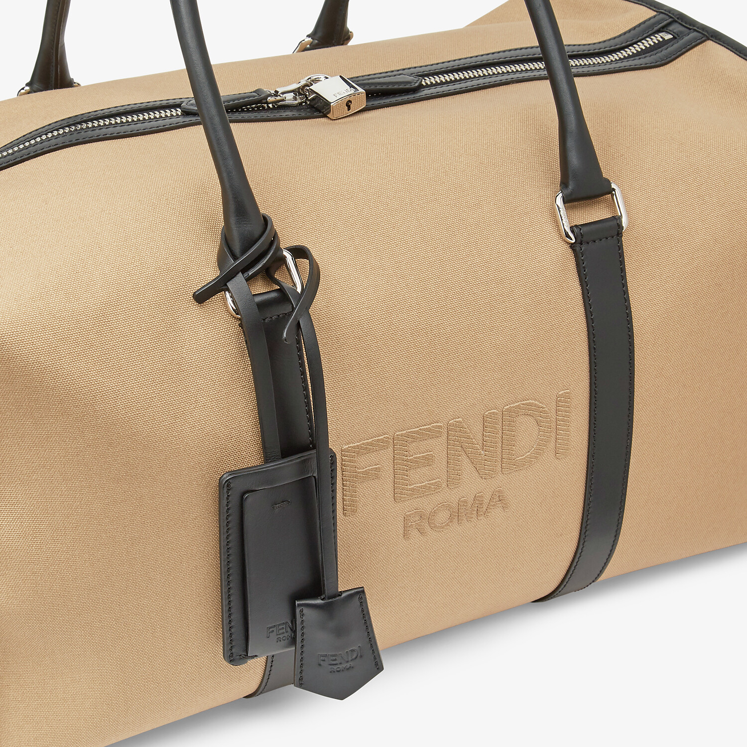 FENDI LARGE DUFFEL BAG - Large beige canvas bag - view 5 detail