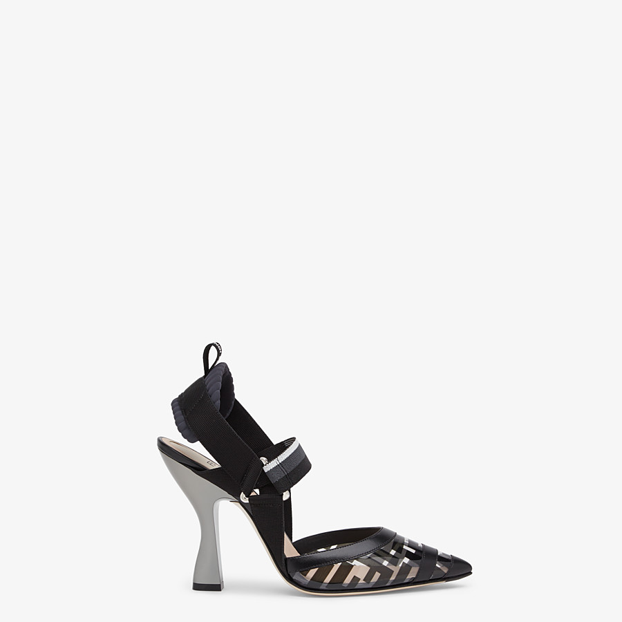FENDI SLINGBACKS - Slingbacks in PU and black leather - view 1 detail