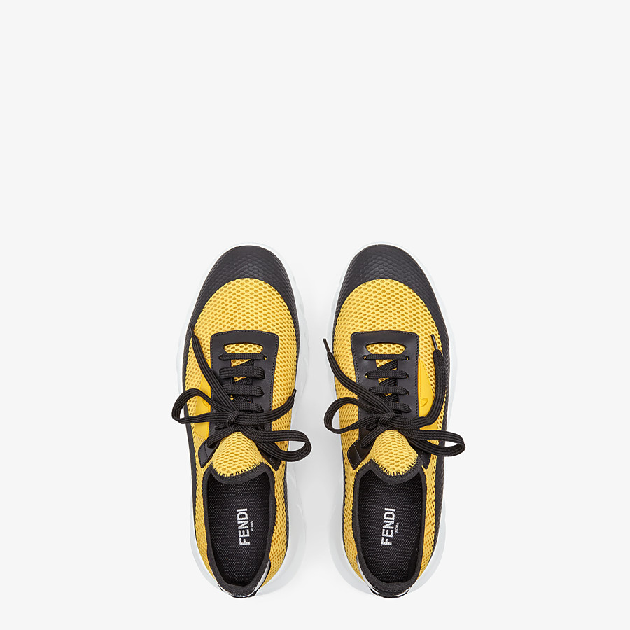 FENDI SNEAKERS - Yellow tech mesh running shoes - view 4 detail