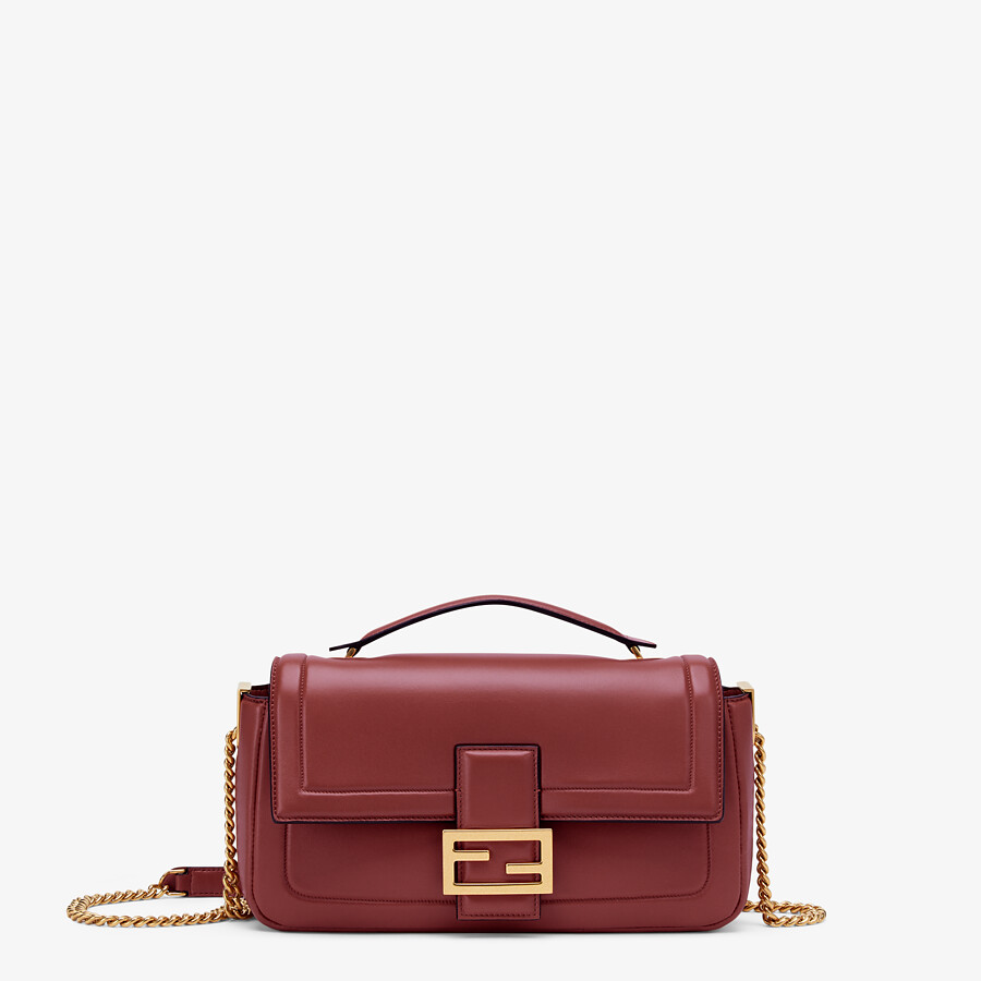 FENDI BAGUETTE CHAIN - Red nappa leather bag - view 1 detail