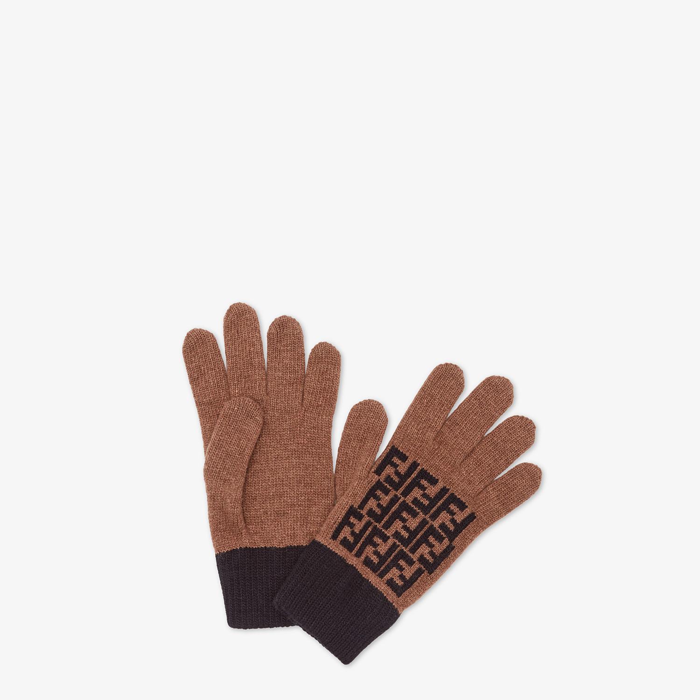 FENDI GLOVES - Brown wool gloves - view 1 detail