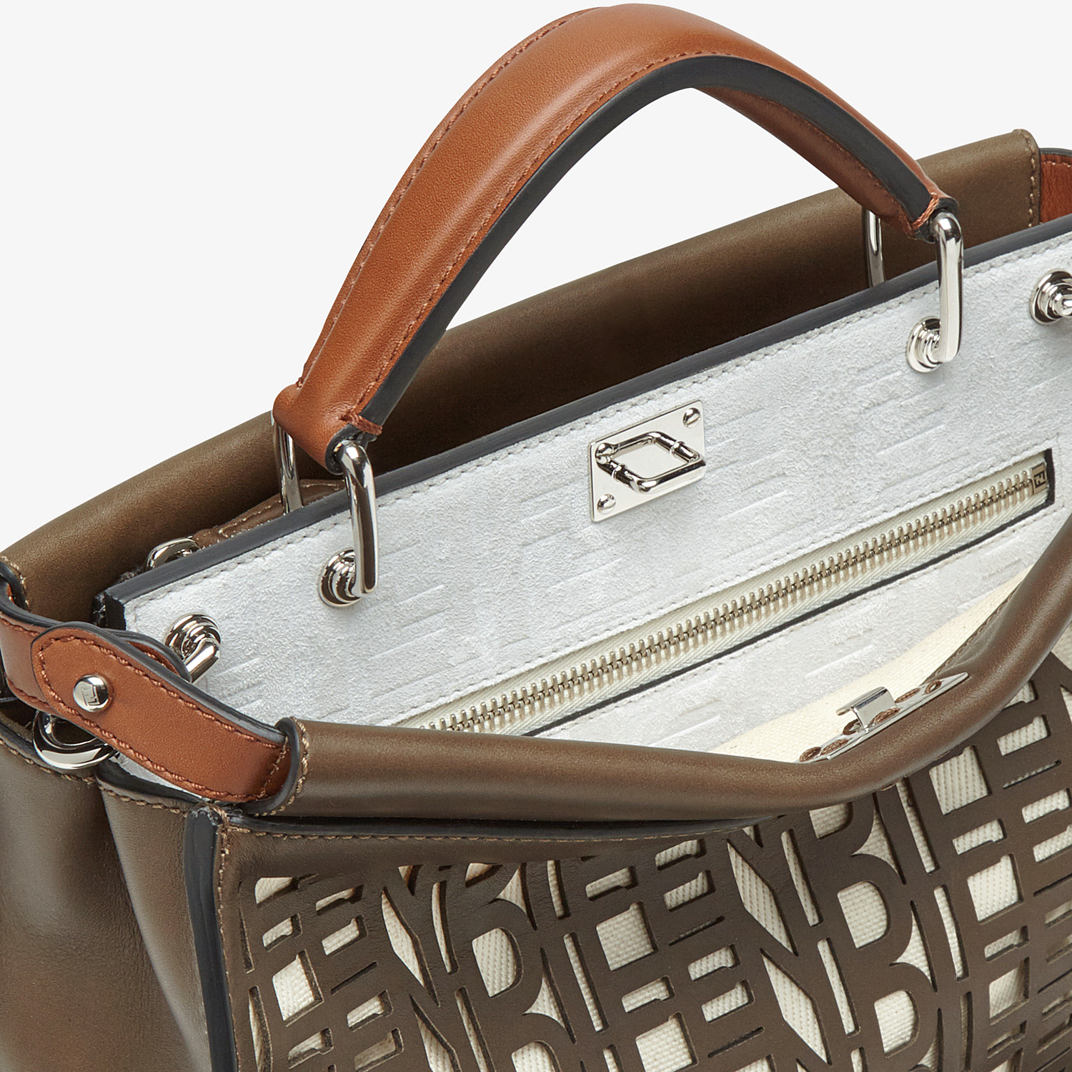 FENDI PEEKABOO ICONIC FIT MINI - Brown leather bag - view 5 detail