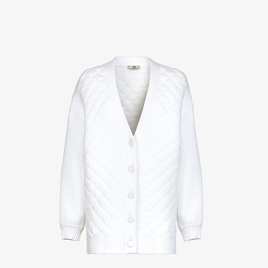 FENDI CARDIGAN - White viscose cardigan - view 1 detail
