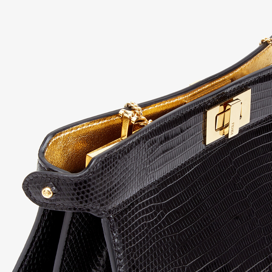 FENDI PEEKABOO ISEEU POCHETTE - Black lizard leather bag - view 6 detail