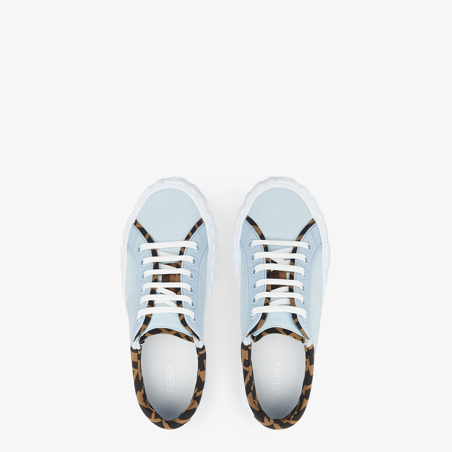FENDI FENDI FORCE - Light blue canvas and TPU low-tops - view 4 detail