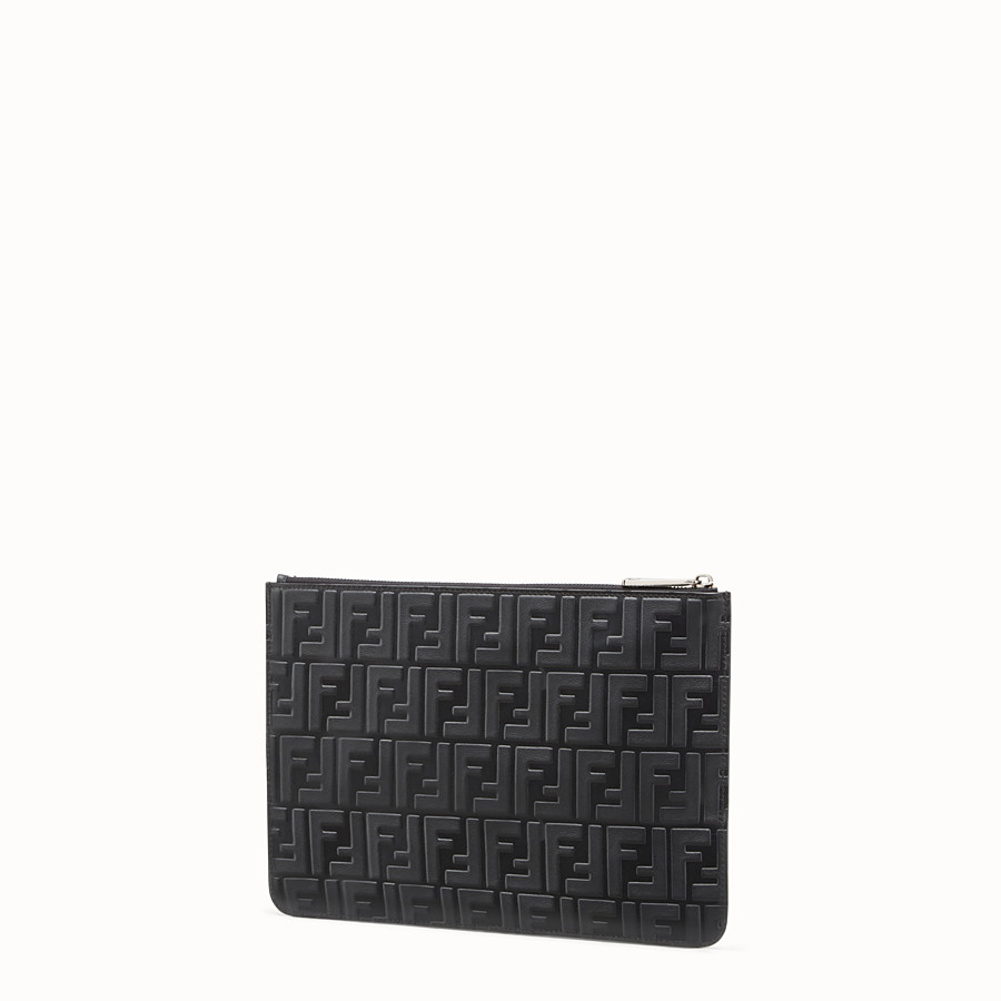 FENDI CLUTCH - Black leather pouch - view 2 detail