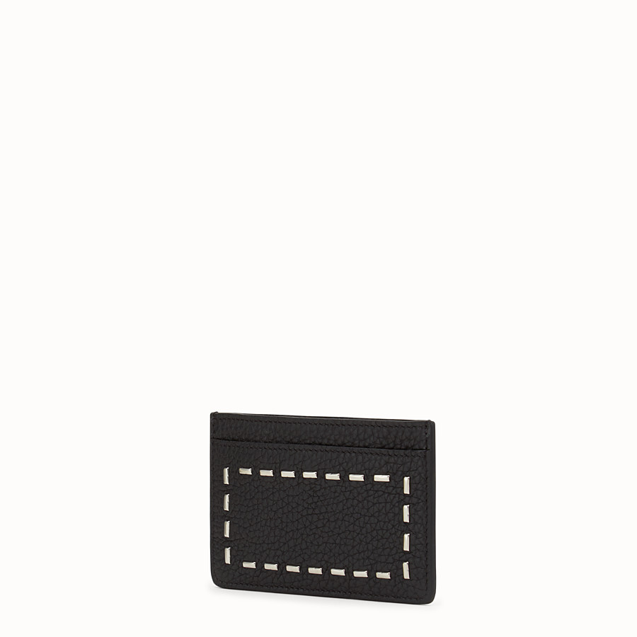FENDI CARD HOLDER - with 4 slots in black Roman leather and metal - view 2 detail