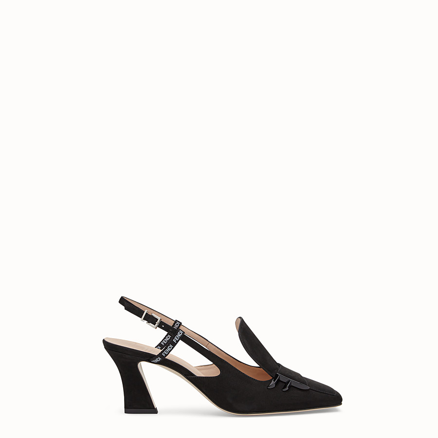 FENDI COURT SHOES - Black nubuck slingbacks - view 1 detail