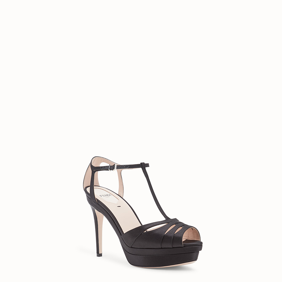 FENDI SANDALS - Black satin high sandals - view 2 detail