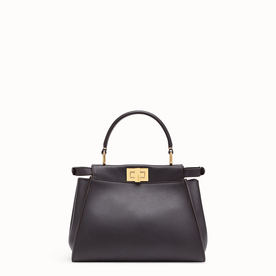 FENDI PEEKABOO ICONIC MINI - Borsa in pelle marrone - vista 4 dettaglio