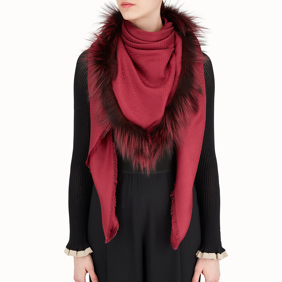 FENDI TOUCH OF FUR SHAWL - Red silk and wool shawl - view 3 detail