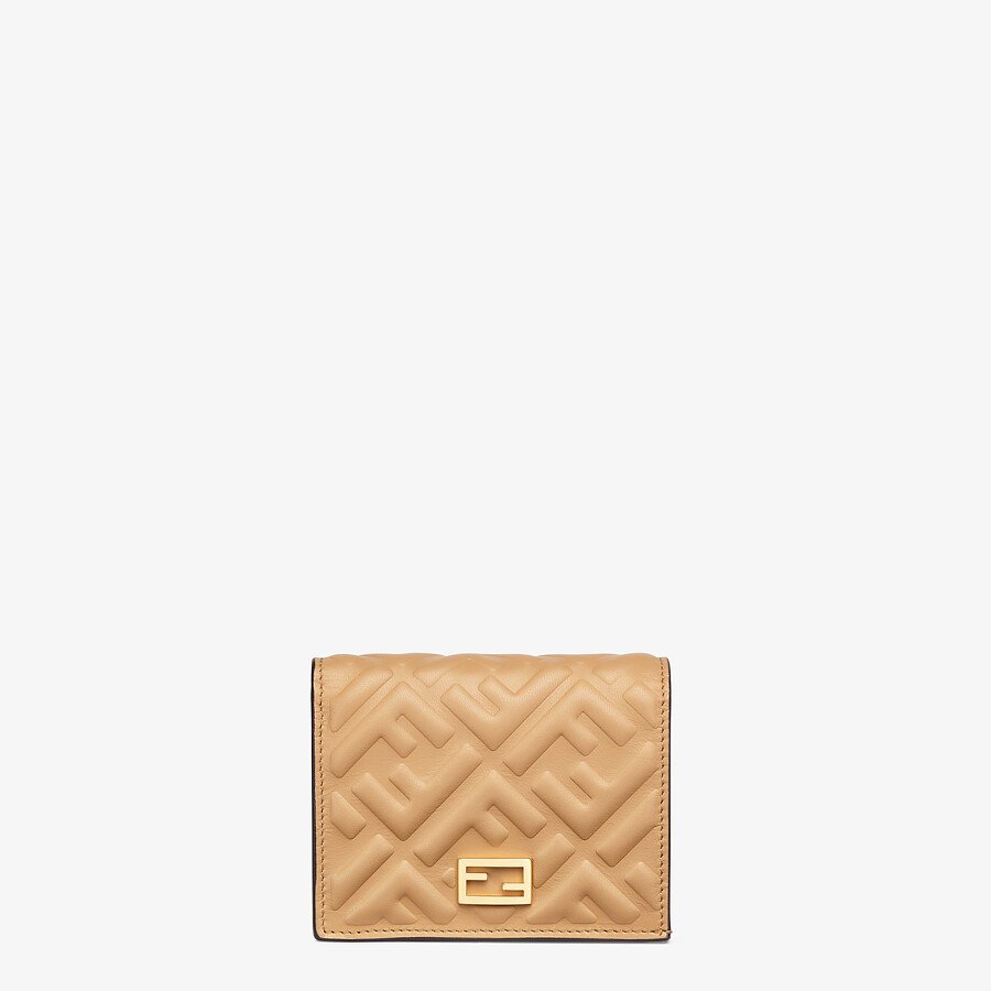 FENDI SMALL WALLET - Beige nappa leather wallet - view 1 detail