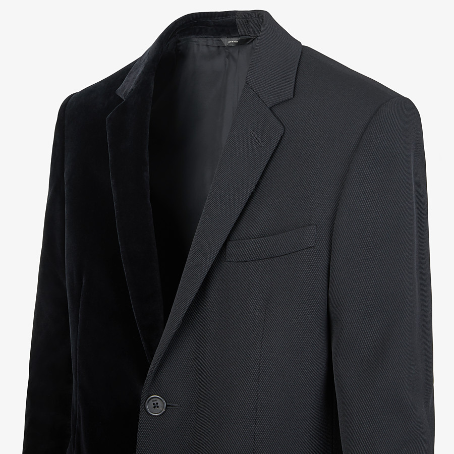 FENDI JACKET - Black velvet and wool blazer - view 3 detail