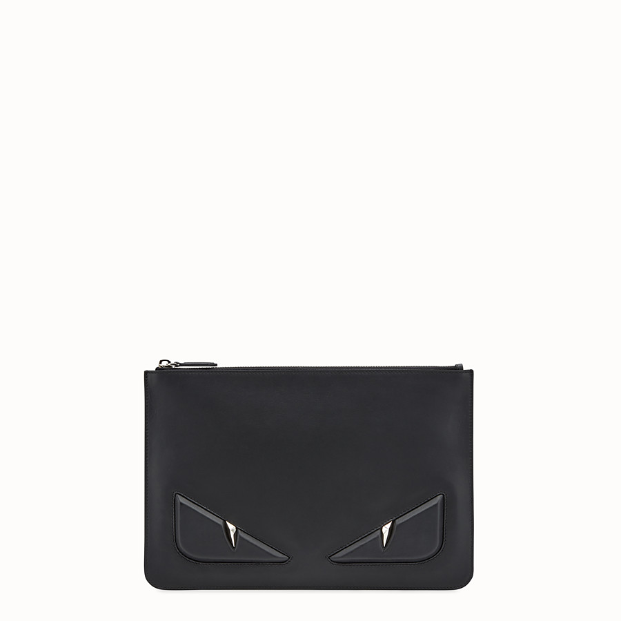 FENDI POUCH - Black leather pouch - view 1 detail