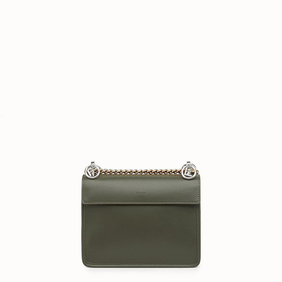 FENDI KAN I F SMALL - Green leather mini-bag with exotic details - view 3 detail