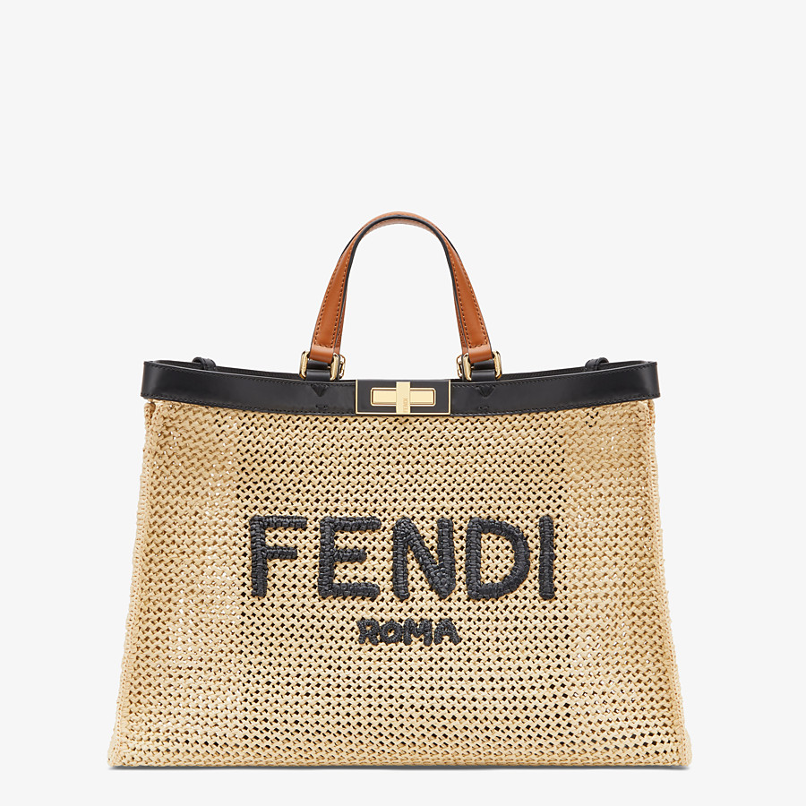 FENDI PEEKABOO X-TOTE - Natural raffia bag - view 1 detail