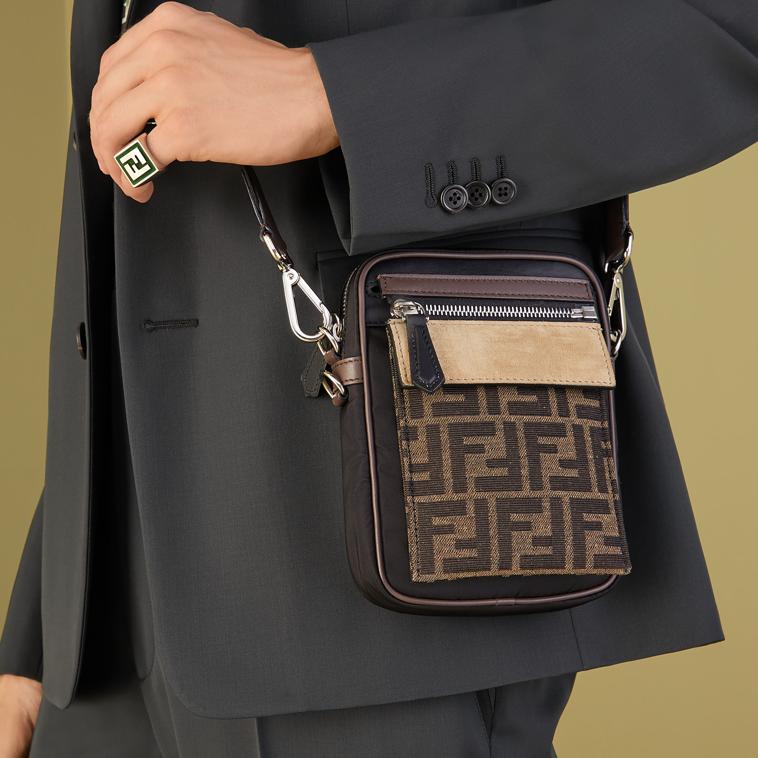 FENDI MESSENGER - Black nylon bag - view 7 detail
