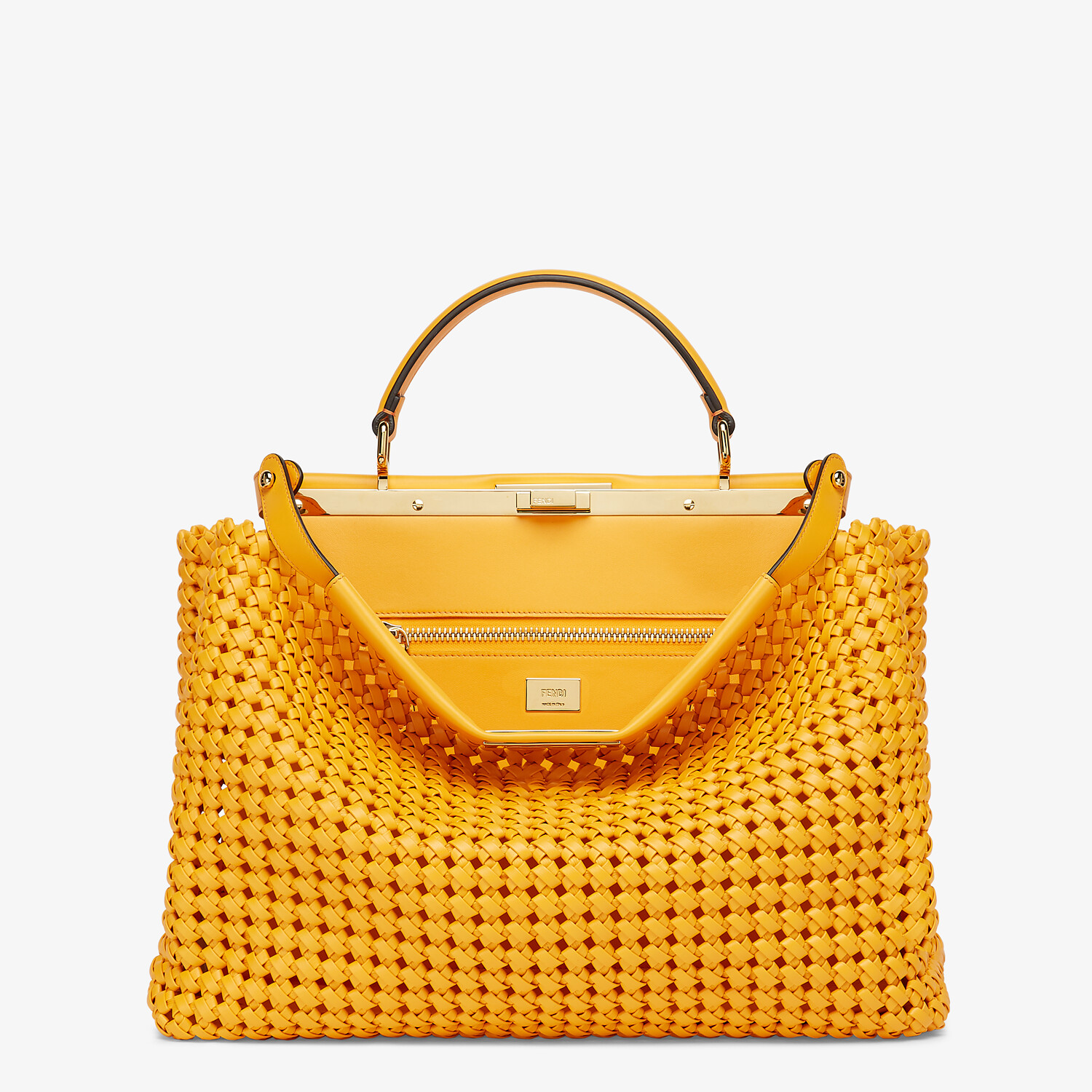 FENDI PEEKABOO ICONIC LARGE - Orange braided leather bag - view 1 detail