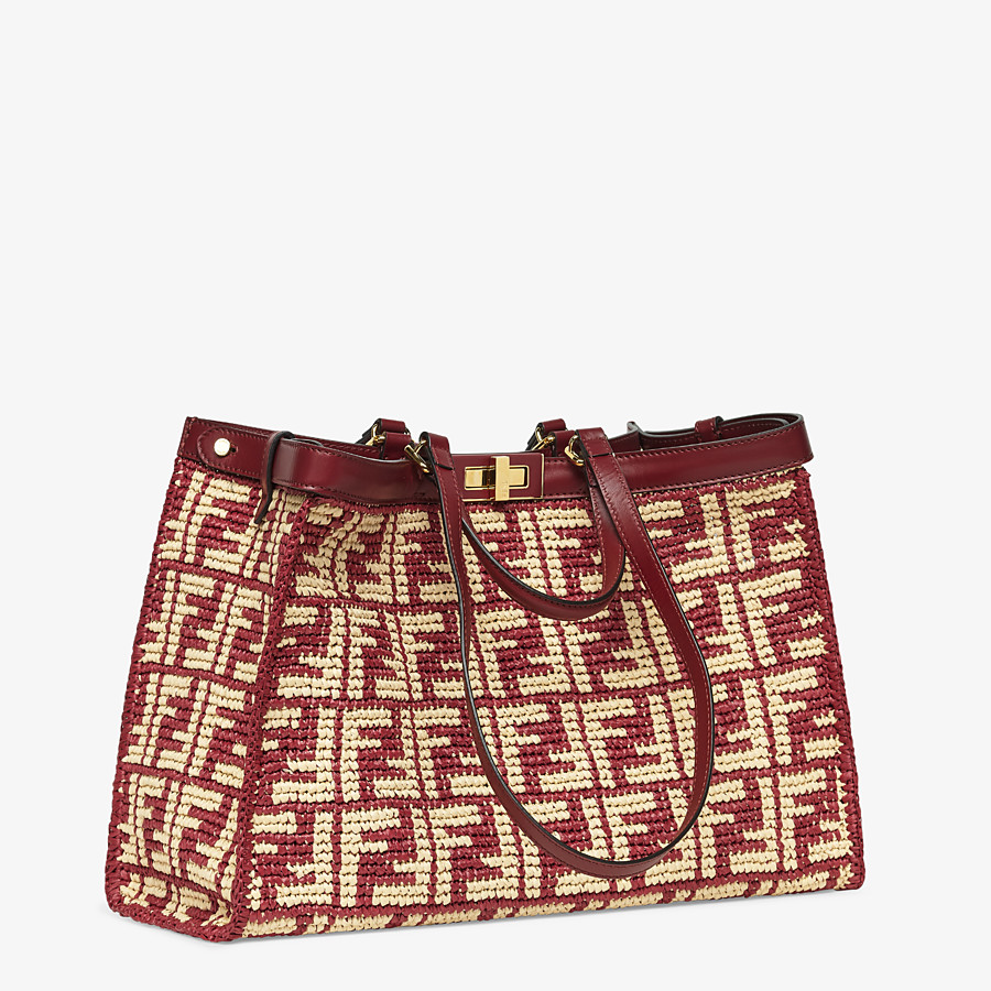 FENDI PEEKABOO X-TOTE - Burgundy FF raffia bag - view 3 detail