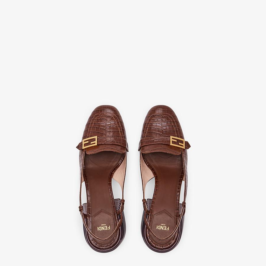 FENDI SLINGBACKS - Brown leather Promenade - view 4 detail