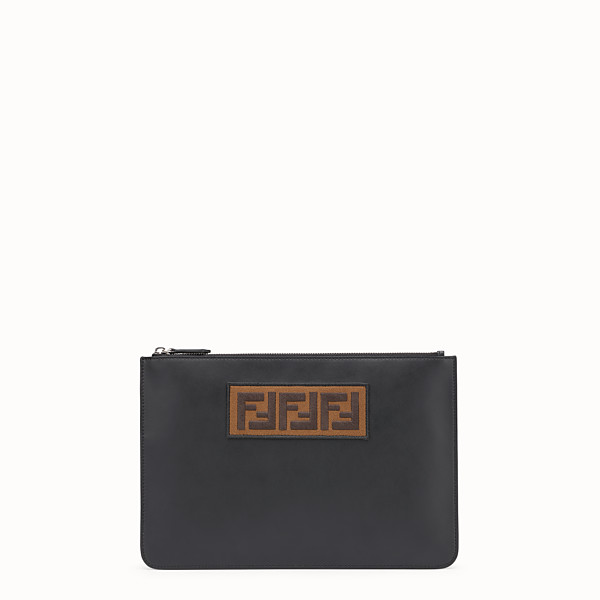 FENDI POUCH - Black leather slim pouch - view 1 small thumbnail