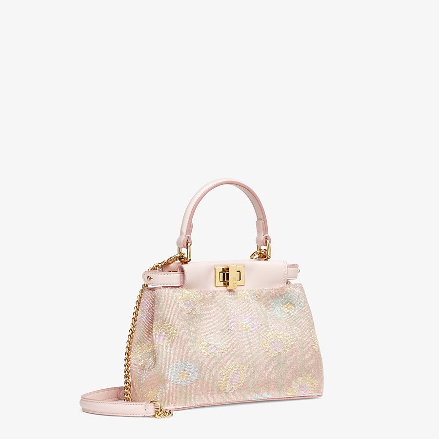 FENDI PEEKABOO ICONIC XS - Mini bag with pink embroidery decoration - view 3 detail