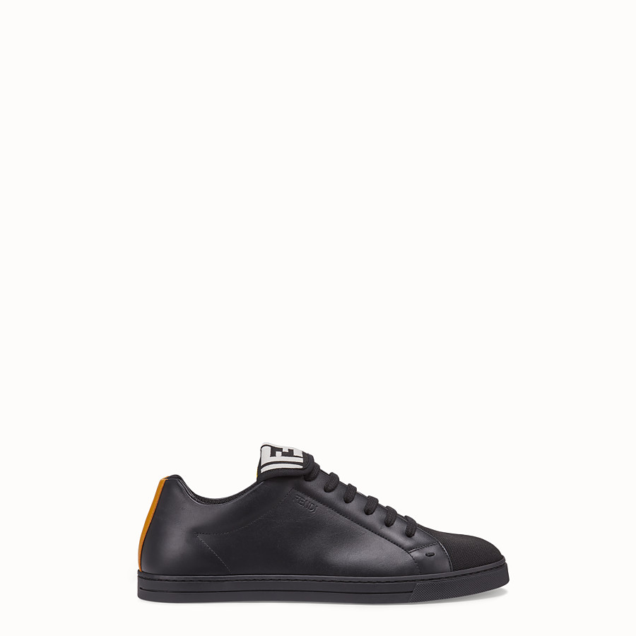 FENDI SNEAKERS - Black mesh and leather low-tops - view 1 detail