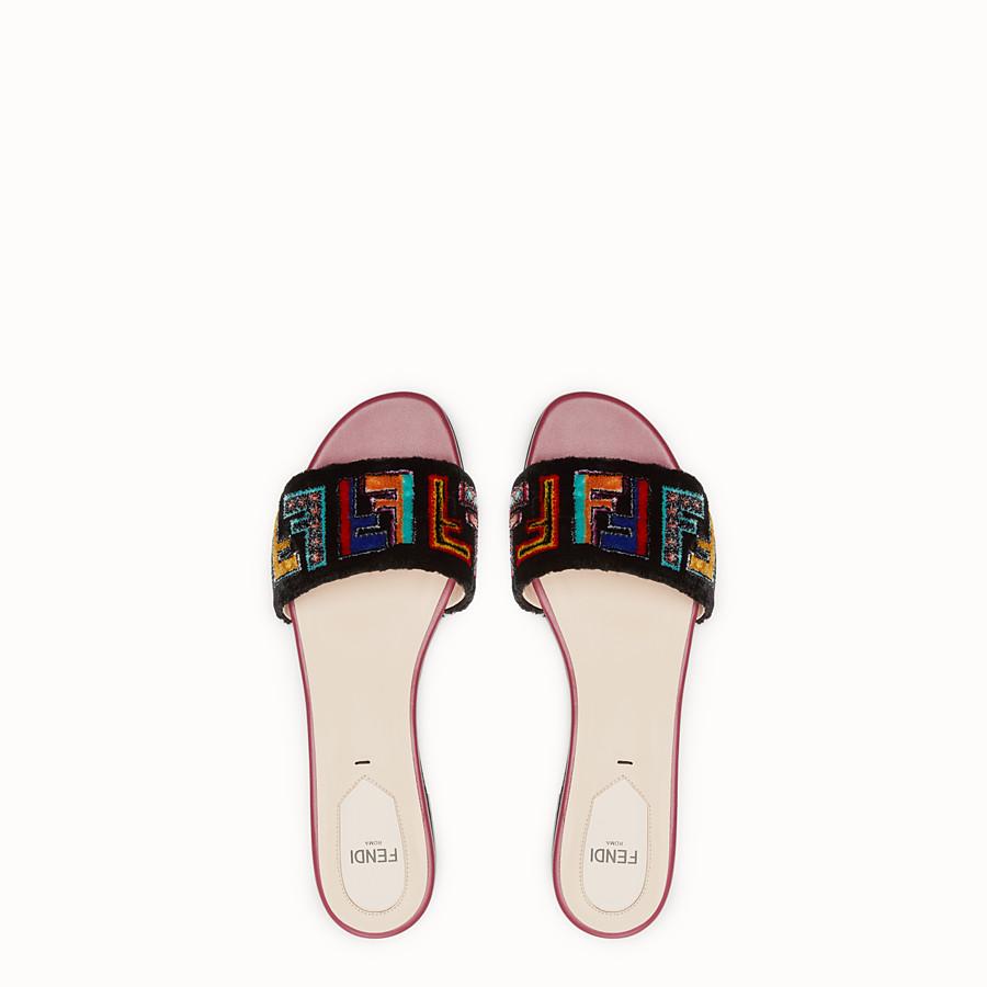 FENDI SABOTS - Multicolour leather and fabric sandals - view 4 detail