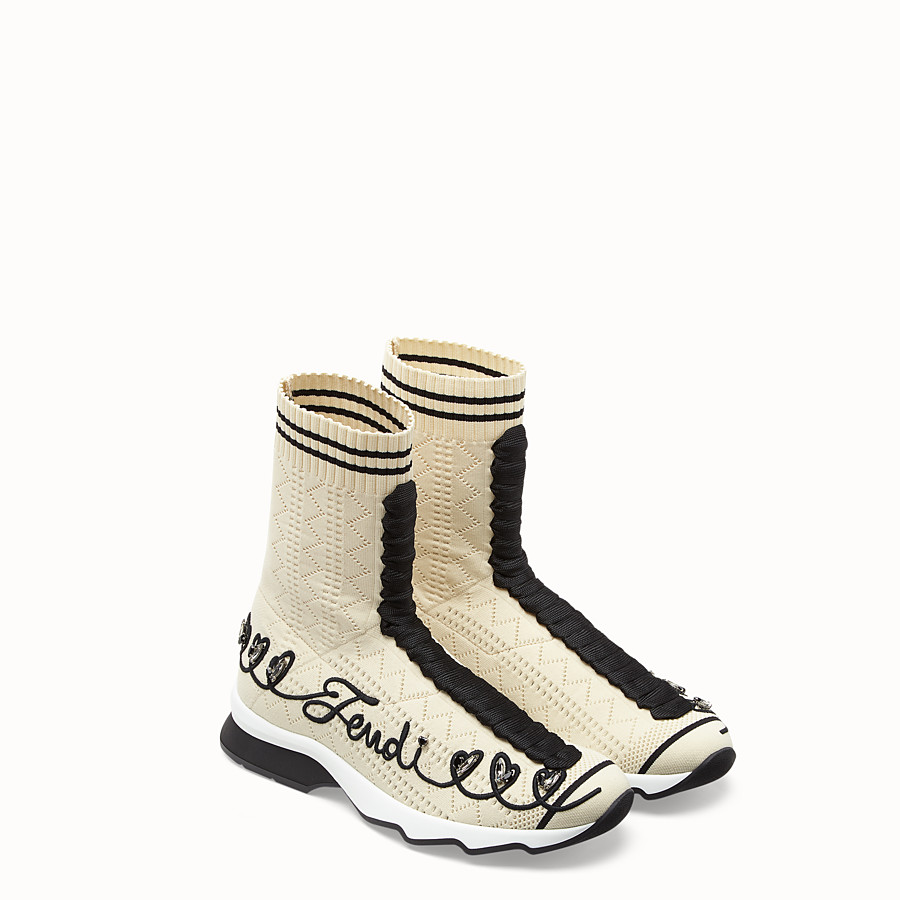 FENDI SNEAKERS - Multicolor fabric sneaker boots - view 4 detail