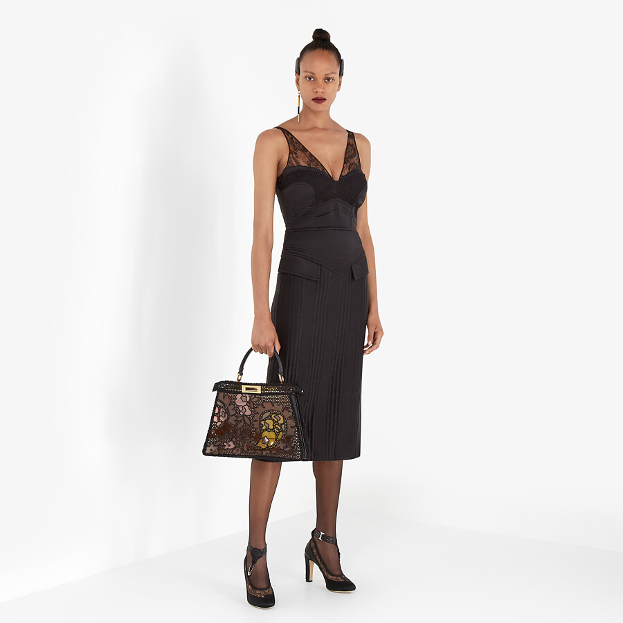 FENDI DRESS - Black satin dress - view 4 detail