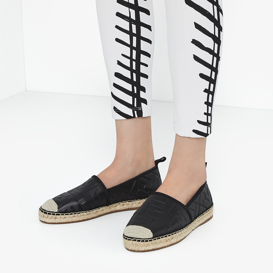 FENDI ESPADRILLES - Black leather espadrilles - view 5 detail