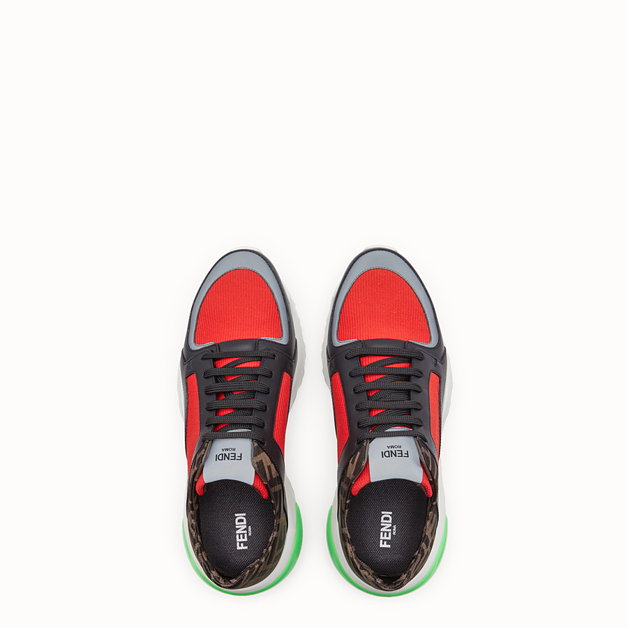 FENDI SNEAKERS - Red tech fabric low-tops - view 4 detail