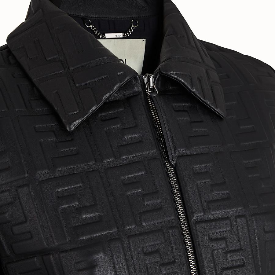FENDI JACKET - Black leather jacket - view 3 detail