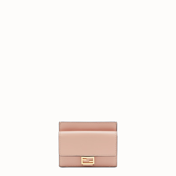 FENDI CARD HOLDER - Pink nappa leather card holder - view 1 small thumbnail