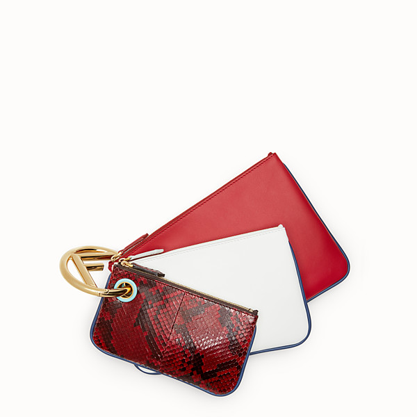 FENDI TRIPLETTE - Exotic multicolour leather pouch - view 1 small thumbnail