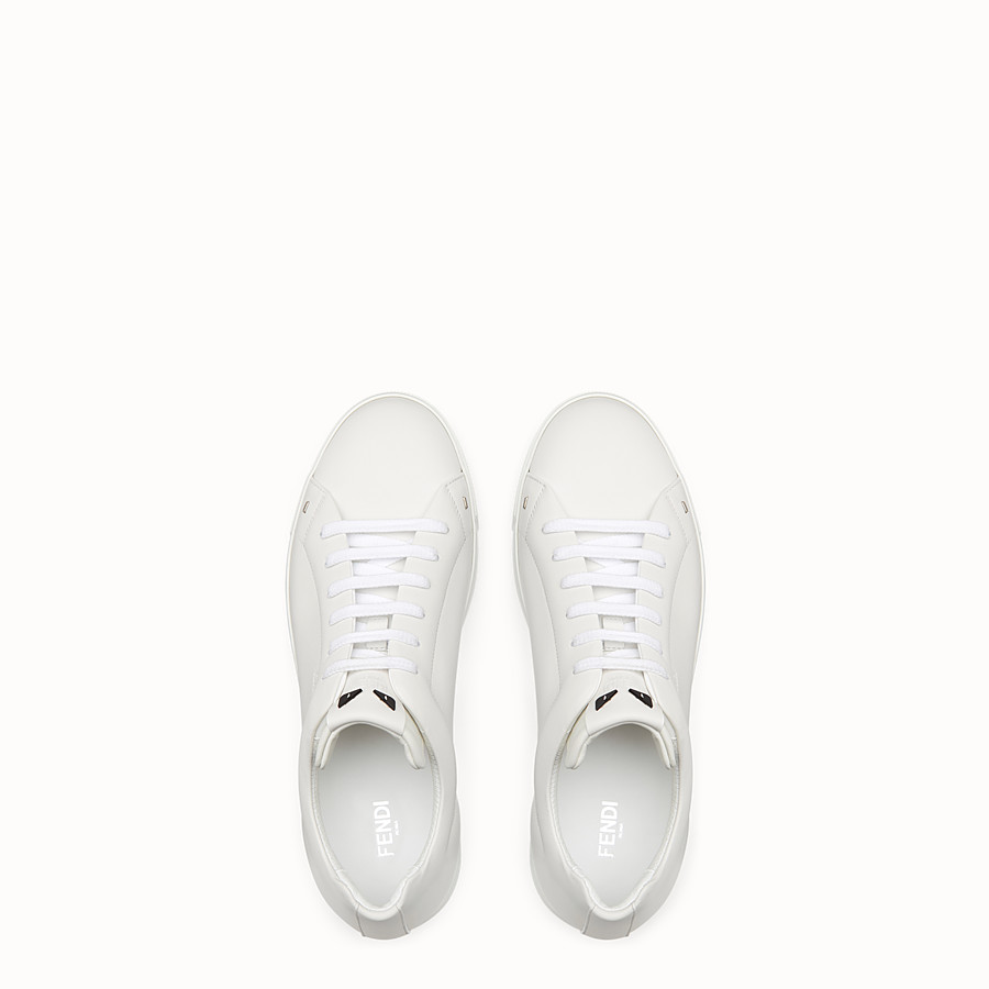 FENDI SNEAKER - White leather lace-ups - view 4 detail