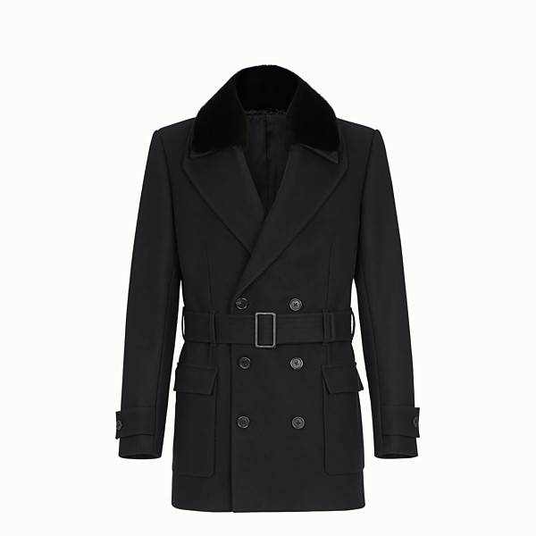 FENDI PEA COAT - Black fabric coat - view 1 small thumbnail