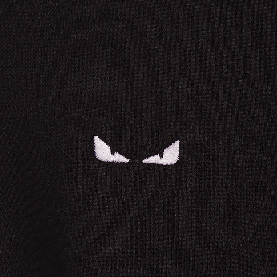 FENDI T-SHIRT - Black fabric T-shirt - view 3 detail