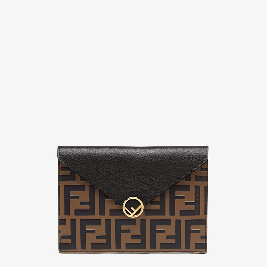 FENDI MEDIUM FLAT POUCH - Brown leather pouch - view 1 detail