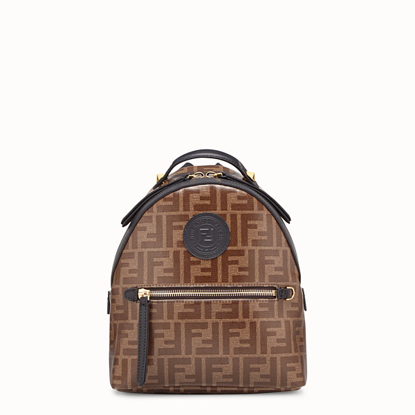 FENDI MINI BACKPACK - Small backpack in brown fabric - view 1 small thumbnail