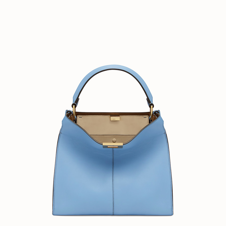 FENDI PEEKABOO X-LITE REGULAR - Pale blue leather bag - view 2 detail