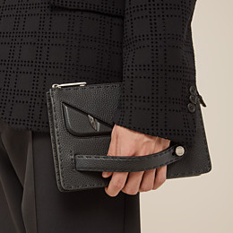 FENDI CLUTCH - in black Roman leather - view 6 thumbnail