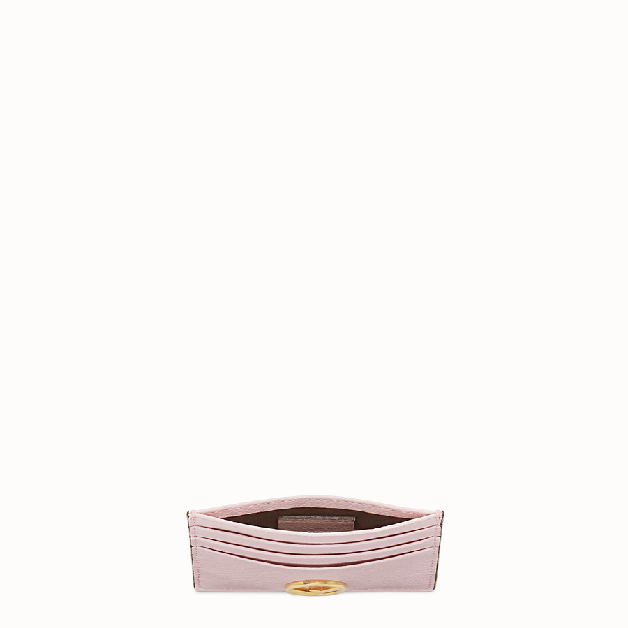 FENDI CARD HOLDER - Pink leather flat card holder - view 4 detail
